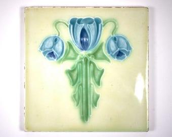 Antique 1900s English Boote Art Nouveau blue tulip pottery tile