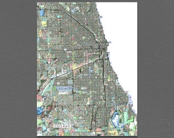 Chicago Map Print, Chicago IL, City Map Art, Illinois, Colorful