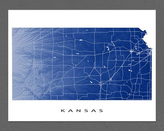 Kansas Map, Kansas State Outline Maps, Art Print, USA