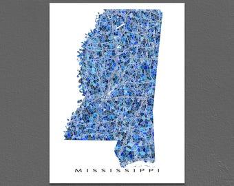 Mississippi Map Artwork, Mississippi Print, MS State Maps