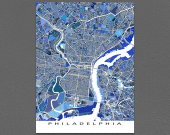 Philadelphia Map Print, Philadelphia Art, Pennsylvania USA City Maps