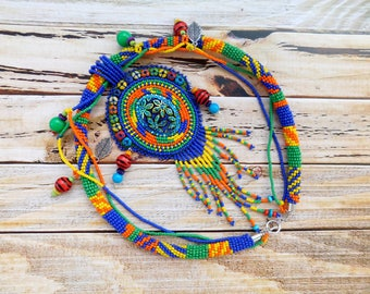 Rainbow necklace, beadwork, embroidery necklace,  seed bead jewelry, bead embroidered, mothers necklace