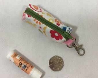 Mini multicoloured  floral zip case, lip balm case, mini coin purse,lipstick case, memory stick case,flashdrive case,chapstick case
