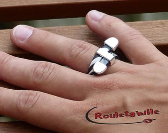 Leather Zebra black and white, silver plated ring