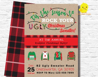 ugly sweater invite etsy - Ugly Sweater Christmas Party Invitations