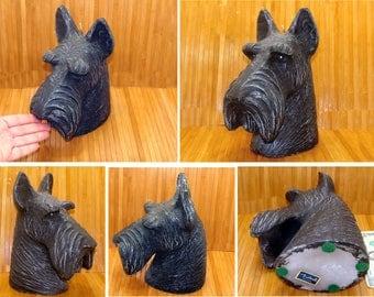 Vintage scottie dog candle-large scotty dog candle-black scottie dog candle-big scottish terrier candle-vintage scottie dog-schnauzer candle