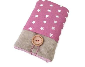 Fabric phone case HTC U11, Pink sleeve HtC U11 Plus,  HTC One M8 wallet case, HTC One M9 case, Htc 10 pouch,  Htc Desire 820, stars pockets