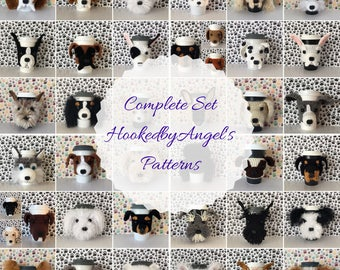 Complete Set of HookedbyAngel's Dog Mug Cozy Crochet Patterns (PDF Files), Crochet Dog Pattern Bundle, Dog Crochet Pattern Bundle