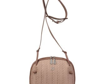 Leather Cross body Bag, Gray Beige (Taupe) Leather Shoulder Bag, Women's Leather Crossbody Bag, Leather bag KF-828