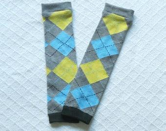 Gray Baby leg warmers yellow blue argyle, kid legwarmers , baby leggings, toddler leg warmers girl boy, baby boot socks, baby footless socks
