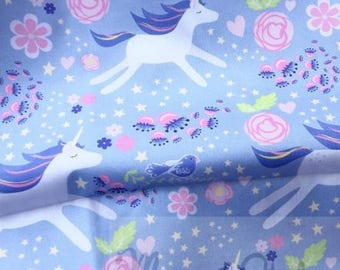 Leaping Unicorns Fabric Floral Periwinkle Lilac and Pink