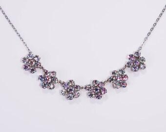 Vintage C1950s Czech Rainbow Iris Glass Daisy Flowers Necklace