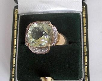 Go on, buy it now - Vintage 9ct Yellow Gold, Prasiolite Green Amethyst & Diamond Ring