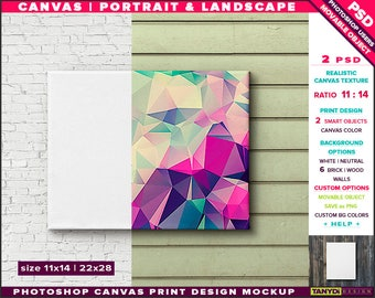 11x14 Canvas on Wall | Photoshop Print Mockup C1114-W | Movable Unframed Portrait Landscape | Bricks Wood | Smart object Custom colors