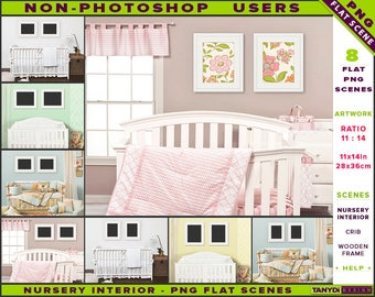 Nursery Interior Styled PNG Scenes | Non-Photoshop | 11x14 Set of Wooden Frame on Nursery Wall | White Wood Crib | Portrait Landscape