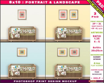 Nursery Interior Photoshop Print Mockup 810-N3   Portrait & Landscape Set of 2 Wooden Frames   Wooden crib   Smart object Custom colors