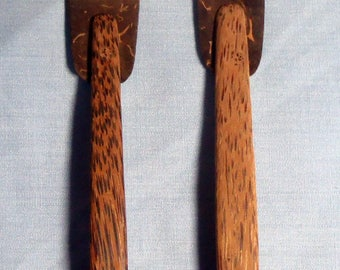 Hand crafted coconut shell forks Bali Indonesia 1 pair new