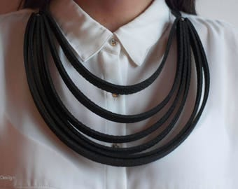 Black handmade necklace, Very light and stylish necklace, Contemporary jewelry