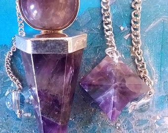 2 Large AMETHYST Crystal 6 Sided DOWSING PENDULUMS with Point, Ball Top and 2 Pouches, Reiki, Divination