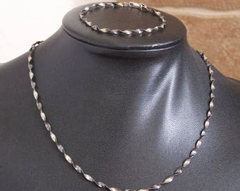 Oxidized Sterling Silver Twisted Strand Necklace and Bracelet - FREE US Shipping!