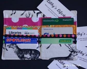 Deer credit card wallet - Business card holder - Handmade Credit card organiser - Business card pocket wallet - Card holder.
