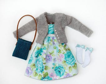blythe clothes set romantic flowers with gray sweater(dress, sweater, socks, bag)
