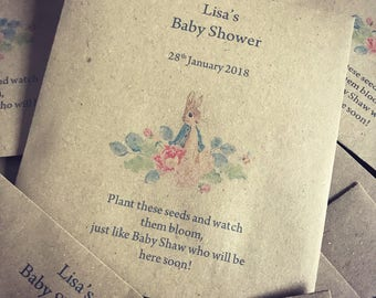Baby shower flower seed favours