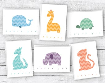 Chevron Animals Around the World Baby Thank You Cards - 48 Cards & Envelopes