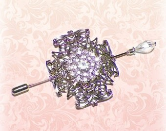 Celtic Shawl Pin Silver Cross Brooch Victorian Vintage  Style Scarf Pin Hair Slide Edwardian Filigree Antique Inspired Stick Pin Outlander