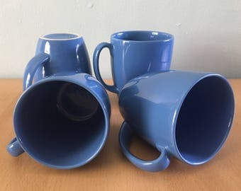Set of 4 vintage Corelle Stoneware mugs for coffee / tea / cocoa made in Thailand in rich tropical Old Florida blue!