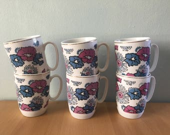 Adorable vintage set of 6 white ceramic coffee mugs / cups blue & purple peony flowers with gold rims for tropical Old Florida home!