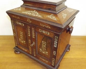 Antique William IV Rosewood Table Cabinet Box Of Architectural Form. c.1835