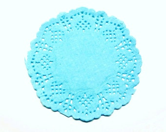 Set of 20 blue lace paper placemats 8 * 8 cm