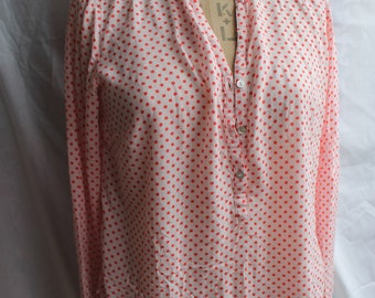 Red Pink polka dot blouse