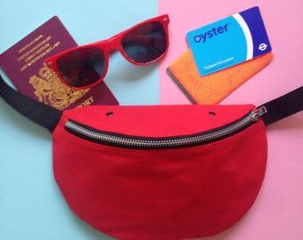Red bumbag, fanny pack, hip bag, cotton canvas, screenprint