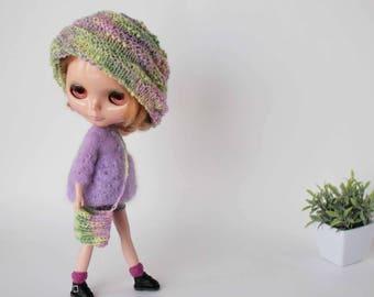 Blythe luxury set, Doll clothes, Blythe cardigan, Dark lilac leather skirt, Doll knitted bag, Pink blythe socks, Green lilac Blythe beanie,