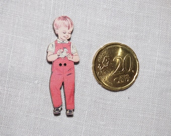 Boy overalls red wood button