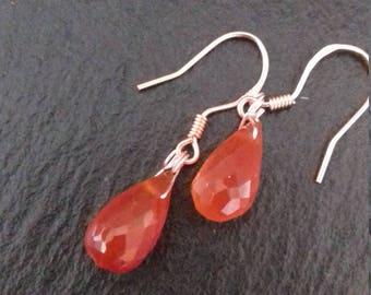 Carnelian Rose Gold  Earrings Gift boxed