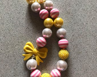 Pink and yellow bubblegum necklace