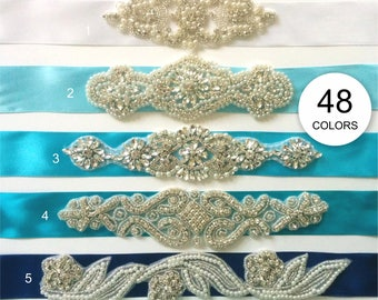 Rhinestone belt, Flower girl sash, Maternity sash, Bridesmaid belt, Wedding sash, Satin ribbon 5 cm - 48 beautiful colors