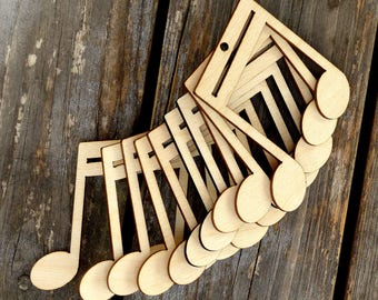 10x Wooden Music Note Beamed Double Standard A Craft Shape 3mm Ply Entertainment