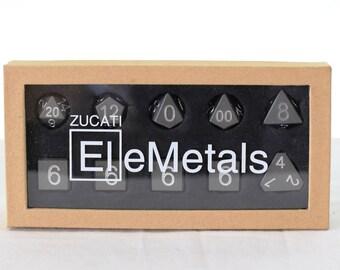 Zucati Dice EleMetal™ Aluminum Polyhedral Set of 10 - Thundercloud Grey