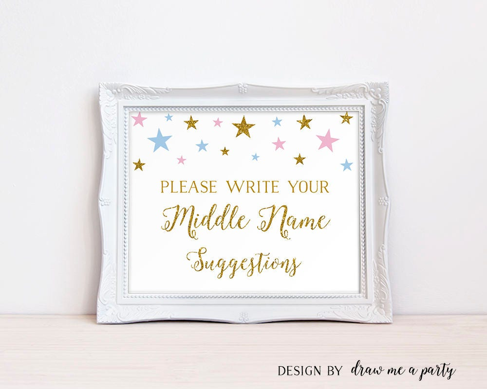 gender reveal baby name suggestions sign pink and blue baby shower