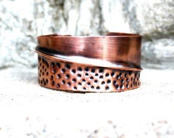 Fold Formed Hammered Copper Cuff Bracelet, Men's Copper Cuff Bracelet, Women's Copper Cuff Bracelet, Rustic Chic Copper Cuff Bracelet