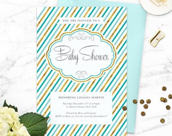 Baby Boy Shower Invitation / Blue and Gold Baby Shower Invitation / Printable Baby Shower Invitation / Elegant Baby Shower Invitation
