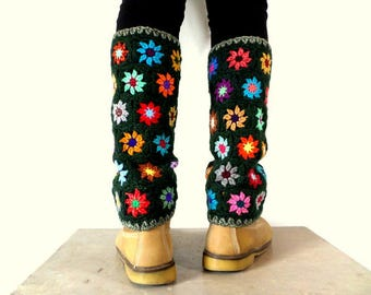 Crochet - green and multicolor wool spats