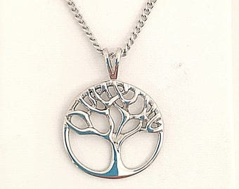 Mens Tree of Life Pendant or Necklace in Stainless Steel, Unisex Tree Of Life Pendant Stainless Steel, Hypoallergenic Tree of Life Necklace
