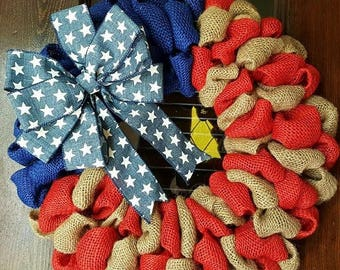 Burlap Flag, Stars and Stripes, Star Flag, American Flag Wreath, Burlap American Flag, Flag Wreath, Patriotic Wreath, American Flag Military