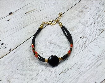 SUMMER SALE Sale! Women's Bracelet, Black Bracelet, Red Beaded Bracelet, Dainty Layered Bracelet, Gold Bracelet, Delicate Bracelet, Gift For