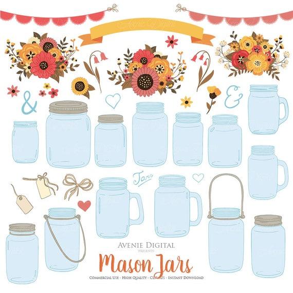Fall Floral Mason Jar Wedding Clipart Scrapbook Clip Art Ball Jars